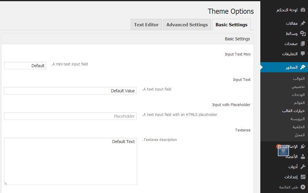 لوحة تحكم options framework